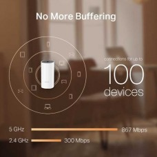 Ac1200 whole-home mesh wi-fi system, qualcomm cpu, 867mbps at 5ghz+300mbps at 2.4ghz, 2 gigabit ports, 2 internal antennas