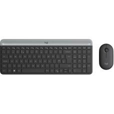 Клавиатура + мышь logitech mk470 graphite клав:черный/серый мышь:черный usb беспроводная slim