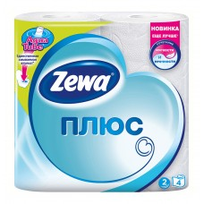 Бумага туалетная бытовая, спайка 4 шт., 2-х слойная (4х23 м), zewa plus, белая, 144051
