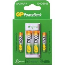 Аккумулятор + зарядное устройство gp powerbank e211130 aa nimh 1300mah (4шт)