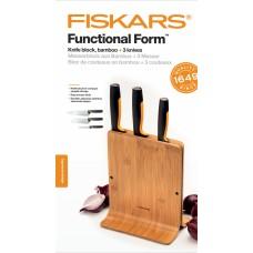 Набор ножей кухон. fiskars functional form (1057553) компл.:3шт с подставкой дерево/черный