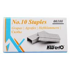 Комплект степлер+скобы kw-trio 5101f n10 (10листов) встроенный антистеплер ассорти 50скоб металл/пластик блистер
