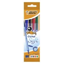 Набор шариковых ручек bic cristal soft (918530) 0.35мм прозрачный ассорти чернила пакет (4шт)
