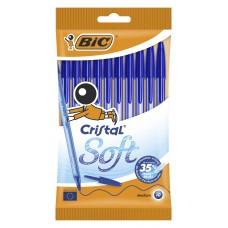 Набор шариковых ручек bic cristal soft (918532) 0.35мм прозрачный синие чернила пакет (10шт)