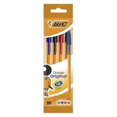 Набор шариковых ручек bic orange fine (8308541) 0.8мм корпус пластик оранжевый ассорти чернила пакет (4шт)