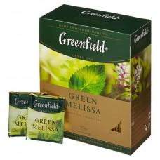 Чай greenfield green melissa зеленый мелисса 100пак. карт/уп. (0879-09)