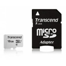 Micro securedigital 16gb transcend  ts16gusd300s-a {microsdhc class 10 uhs-i, sd adapter}