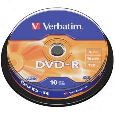 Диск dvd-r verbatim 4.7gb 16x cake box (10шт) (43523)
