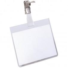 Бейдж durable 8003-19 60х90мм горизонтальный зажим вращающийся пвх прозрачный (упак.:25шт)