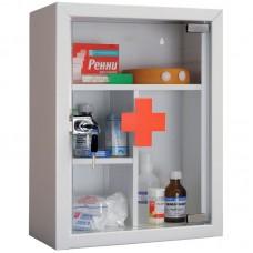 Аптечка для медикаментов hilfe amd-39g, со стеклом, 390*300*160мм